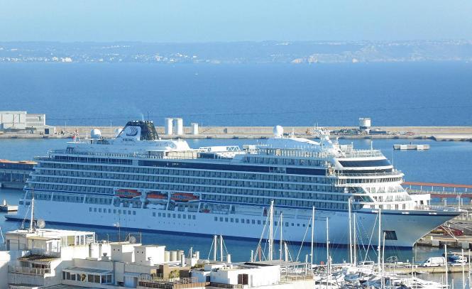 "Die ""Viking Sky"" am Donnerstag zu Gast in Palma de Mallorca."