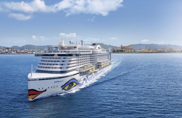 So wird es aussehen, wenn die Aida-Perla den Hafen von Palma verlässt.