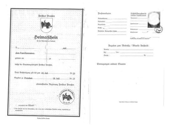 """Den """"Heimatschein des Freistaates Preußen"""" wollte die Fluggesellschaft nicht als Ausweisdokument akzeptieren."""