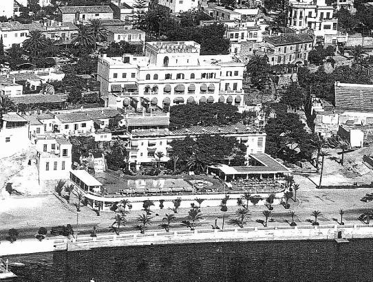 Das alte Hotel Victoria Ende der 1950er Jahe. Damals war die Hafenpromenade, zu dem Zeitpunkt noch unverbreitert, frisch fertigg