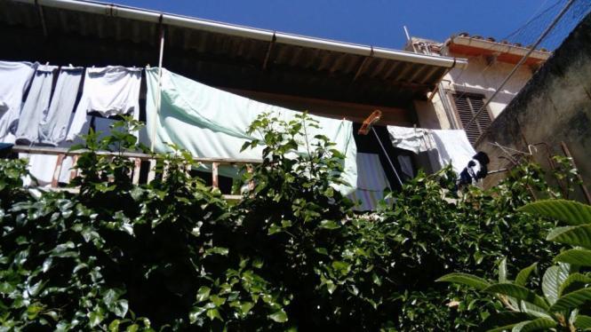 Die Frau fiel vom Balkon in den darunter liegenden Garten