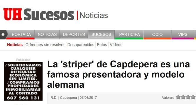 """""""Die Stripperin von Capdepera ist eine bekannte deutsche Moderatorin"""", titelte Ultima Hora online."""