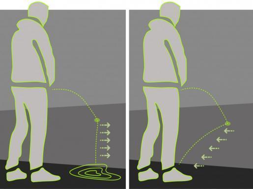 Das Plakat soll zeigen, wie der Anti-Pinkel-Lack an Wänden funktioniert