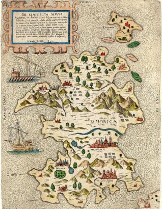 Eine Mallorca-Karte aus dem 16. Jahrhundert, die etwas dabene ging