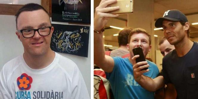 Inzwischen ist Rafael Nadal wieder nach Mallorca zurückgekehrt (r.). Noch aus New York gratulierte er seinem Fan Miguel Ángel (B