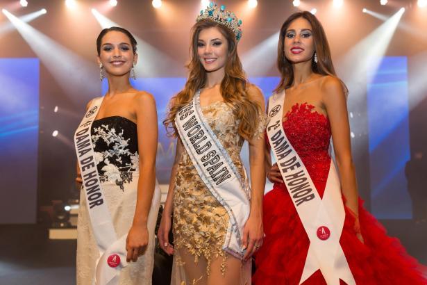 """Die neue """"Miss World Spain"""" Eli Tulián mit ihren Ehrendamen Katixa Elizegui und Mercedes Riviera."""