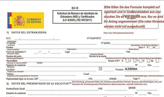 Auf der Webseite des spanischen Konsulats in Hamburg gibt es Ausfüllhilfen für den Antrag auf eine NIE.