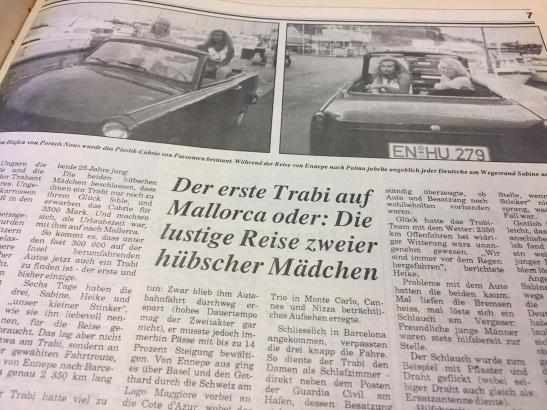 In der Ausgabe 40 von 1990 berichtete das MM über die Reise der beiden Freundinnen in ihrem Trabi.