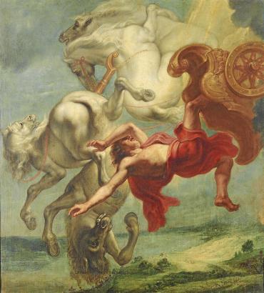 Phaeton stürzt mit dem Sonnenwagen auf die Erde. Das Bild des flämischen Malers Jan Carel van Eyck entstand zwischen 1636 und 16