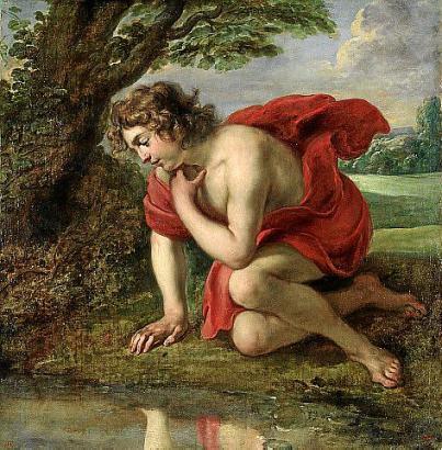 Ein Gemälde des flämischen Malers Jan Cossiers: Narziss verliebt sich in sein Spiegelbild.