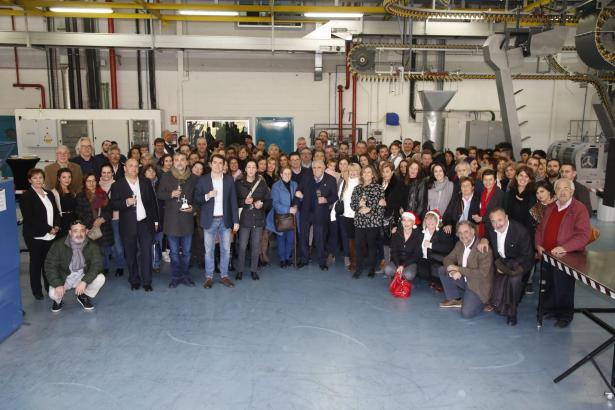 Die MM-Mitarbeiter und ihre Kollegen treffen sich jedes Jahr in der Druckerei der Mediengruppe.