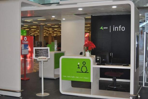 So sehen die neuen Info-Schalter am Flughafen Mallorca aus.