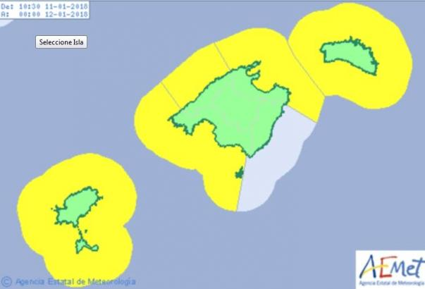 Warnstufe Gelb auf Mallorca.