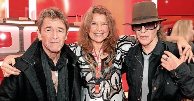 Die Sänger und ihre Texterin: Peter Maffay, Beatrice Reszat und Udo Lindenberg.