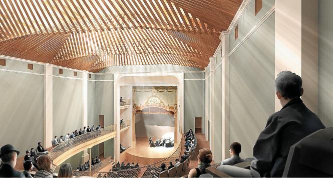 Ein Hingucker in dem neuen Theater wird die mit Holzlamellen verkleidete Decke.