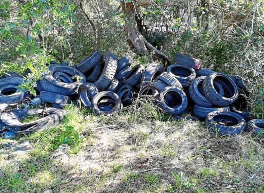 Das Foto zeigt die am Freitag entdeckten Altreifen bei Bunyola.