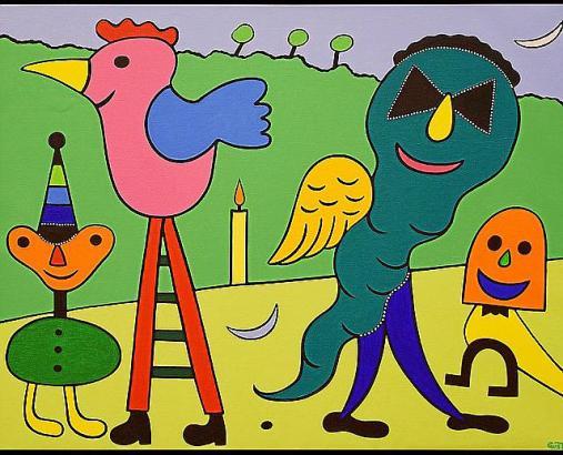 Skurrile, komische Gestalten und Farbenpracht kennzeichnen die unverwechselbare künstlerische Sprache von Gustavo.