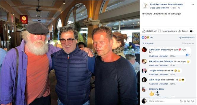Die Aufnahme von Nick Nolte (von links), Bashkim Osmani und Til Schweiger entstand vor dem Restaurant.
