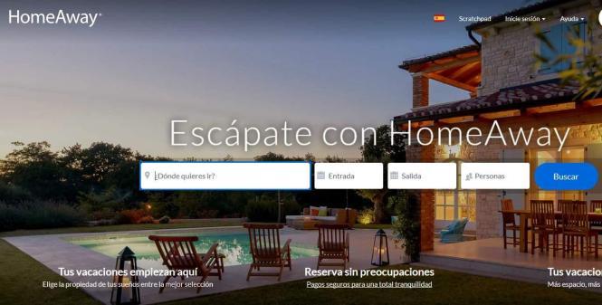Der Screenshot zeigt die Startseite des Internetportals Homeaway.
