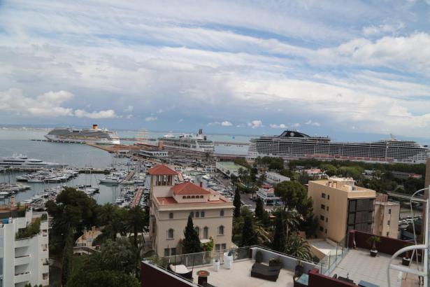 Ein Teil der Kreuzfahrtschiffe, die am Dienstag Palma besucht haben. Insgesamt waren es sechs.
