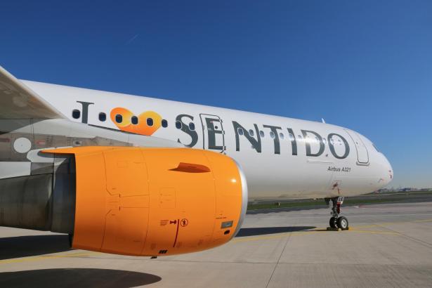 Der Thomas-Cook-Airbus mit der frischen Sentido-Lackierung.