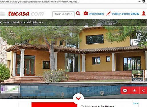 Die besetzte Villa in Marratxí wurde auf diversen Immobilienportalen angeboten.