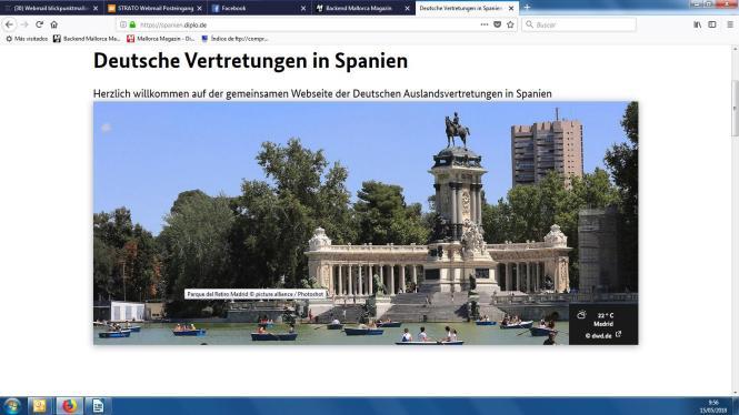 So sieht der neue gemeinsame Internetauftritt der deutschen Vertretungen in Spanien aus.