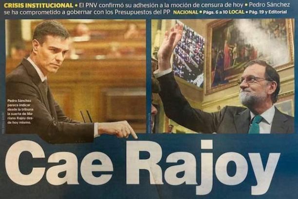 """""""Rajoy stürzt"""" titelt die MM-Schwesterzeitung Ultima Hora am Freitag."""
