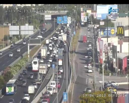 Die Aufnahme der balarischen Verkehrsbehörde dokumentiert den Verkehrsstau auf der Vía de Cintura.