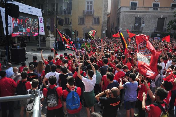 Als Real Mallorca Ende Mai um den Wiederaufstieg in die zweite Liga spielte, gab es Public Viewing auf dem Paseo Borne im Herzen