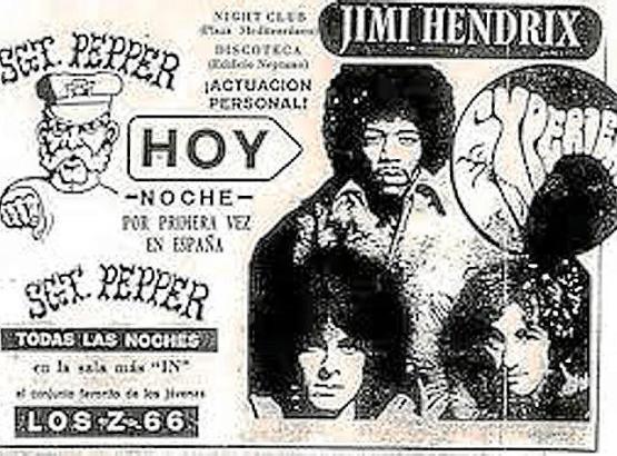 """So wurde am 15. Juli 1968 in der Zeitung """"Ultima Hora"""" für das Konzert von Jimi Hendrix in Palma geworben."""