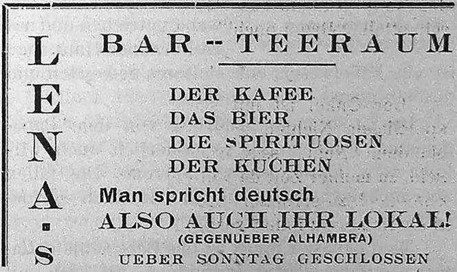 Die Werbeanzeige aus einem deutschsprachigen Residentenblatt der Insel von 1934 verweist auf das Lokal der Schweizerin Lina Brec