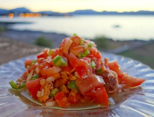 Tomaten, grüne Paprika und Zwiebeln - mehr braucht es nicht für einen Trampó.