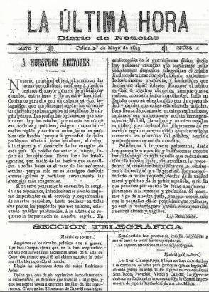 Start einer Erfolgsgeschichte: Am 1. Mai 1893 erschien die Tageszeitung Ultima Hora zum ersten Mal.