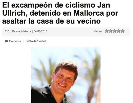 """""""Ex-Weltmeister auf Mallorca festgenommen, nachdem er auf das Anwesen seines Nachbarn eindrang""""."""