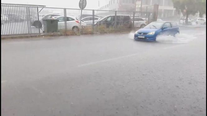 Unwetter in Inca am Montag.