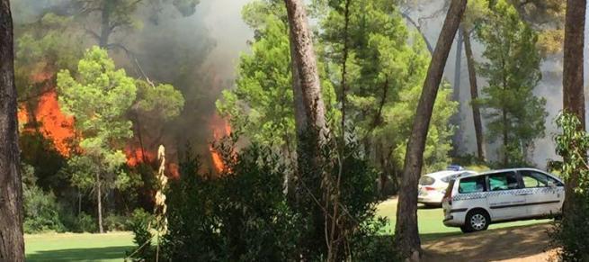 Die Flammen sind mehrere Meter hoch.