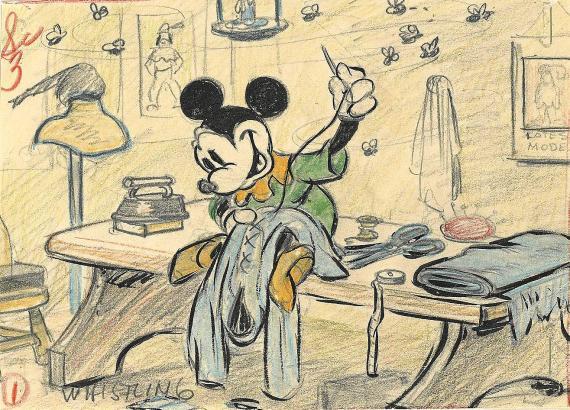 Mickey Mouse, das tapfere Schneiderlein: Diese Skizze stammt aus den Disney Studios und datiert aus dem Jahr 1938.