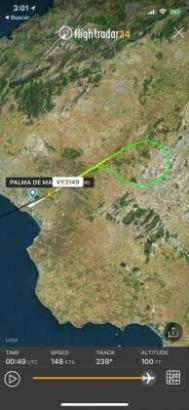 Der Flug der Maschine über Mallorca, Kurs nach Flightradar, war nur von kurzer Dauer.