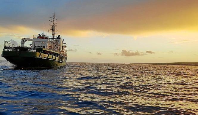 Das Greenpeace-Schiff MV Esperanza ist derzeit vor Mallorca unterwegs.