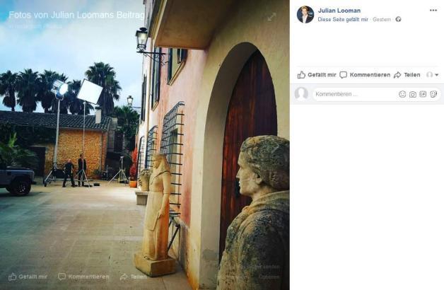 Julian Looman postete dieses Foto vom Drehbeginn auf Facebook.