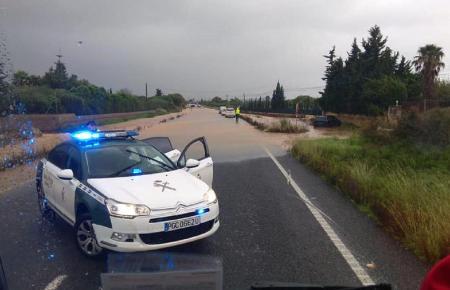 Überschwemmung bei Capdepera im Nordosten Mallorcas.
