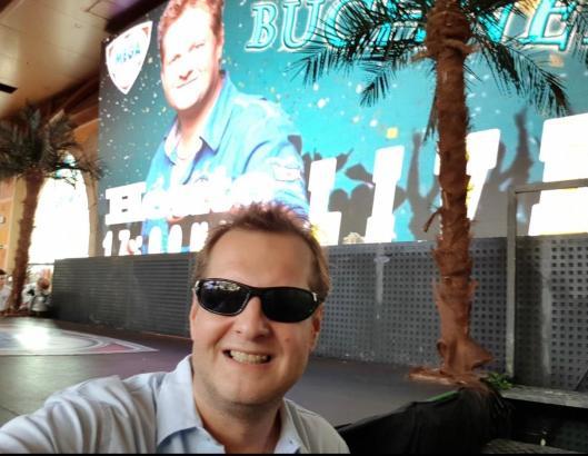 Jens Büchner vor einem seiner Auftritte im Megapark.
