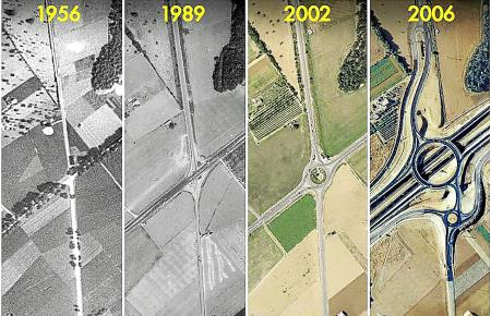Der Autobahnbau auf Mallorca ging über die Jahrzehnte stetig voran: Hier ein Blick auf eine Kreuzung zwischen Inca und Sa Pobla,