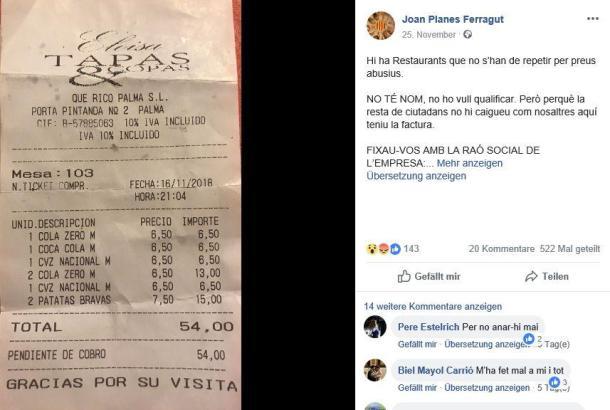 Diese Rechnung postete der Gast auf Facebook.