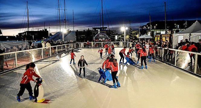 Die rund 300 Quadratmeter große Eisbahn in Port Adrianos Eis-Themenpark soll dem ökologischen Konzept des Hafens entsprechen.