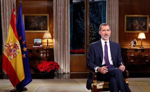 Spaniens König Felipe während der Weihnachtsansprache.