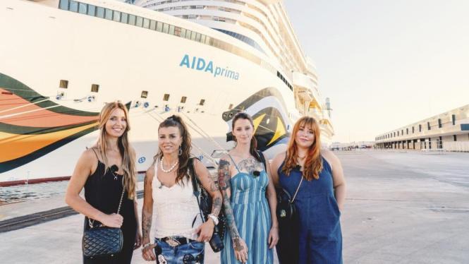 """Das sind die Kandidatinnen, die mit der """"Aida Prima"""" in Palma waren (v.l.): Sandra R., Gordana, Alisa und Sandra K.."""