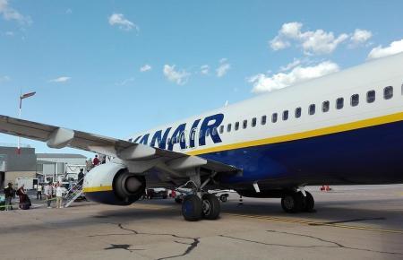 Blick auf einen Ryanair-Jet.