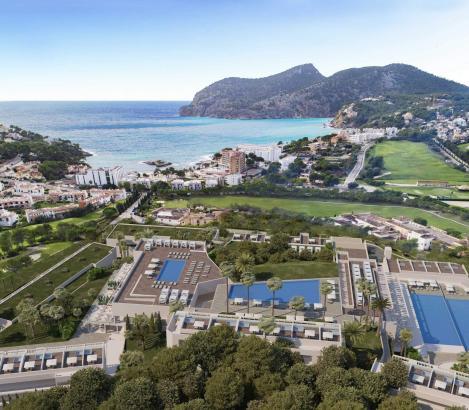 """Und so soll es aussehen, das neue """"Zafiro Palace Andratx"""" mit Blick aufs Meer."""